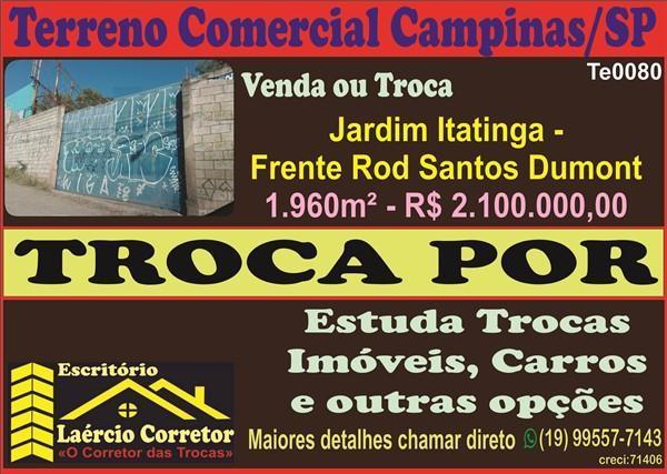 Terreno Comercial para Venda em Campinas / SP no bairro Jardim Itatinga